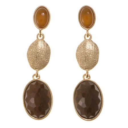Drop Dangle Earrings With Brown Faceted Accents Gold-Tone