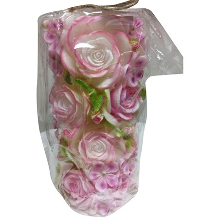 One Hundreds Eighty Degree Sculpted Flower Candle with Cello Bag - Pink - Sculpted Halloween Candles