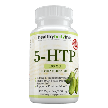 5-HTP Extra Strength Dietary Supplement, Supports Positive Mood, Sleep & Relaxation, Supports Serotonin Production, 120 Capsules by Healthy Body