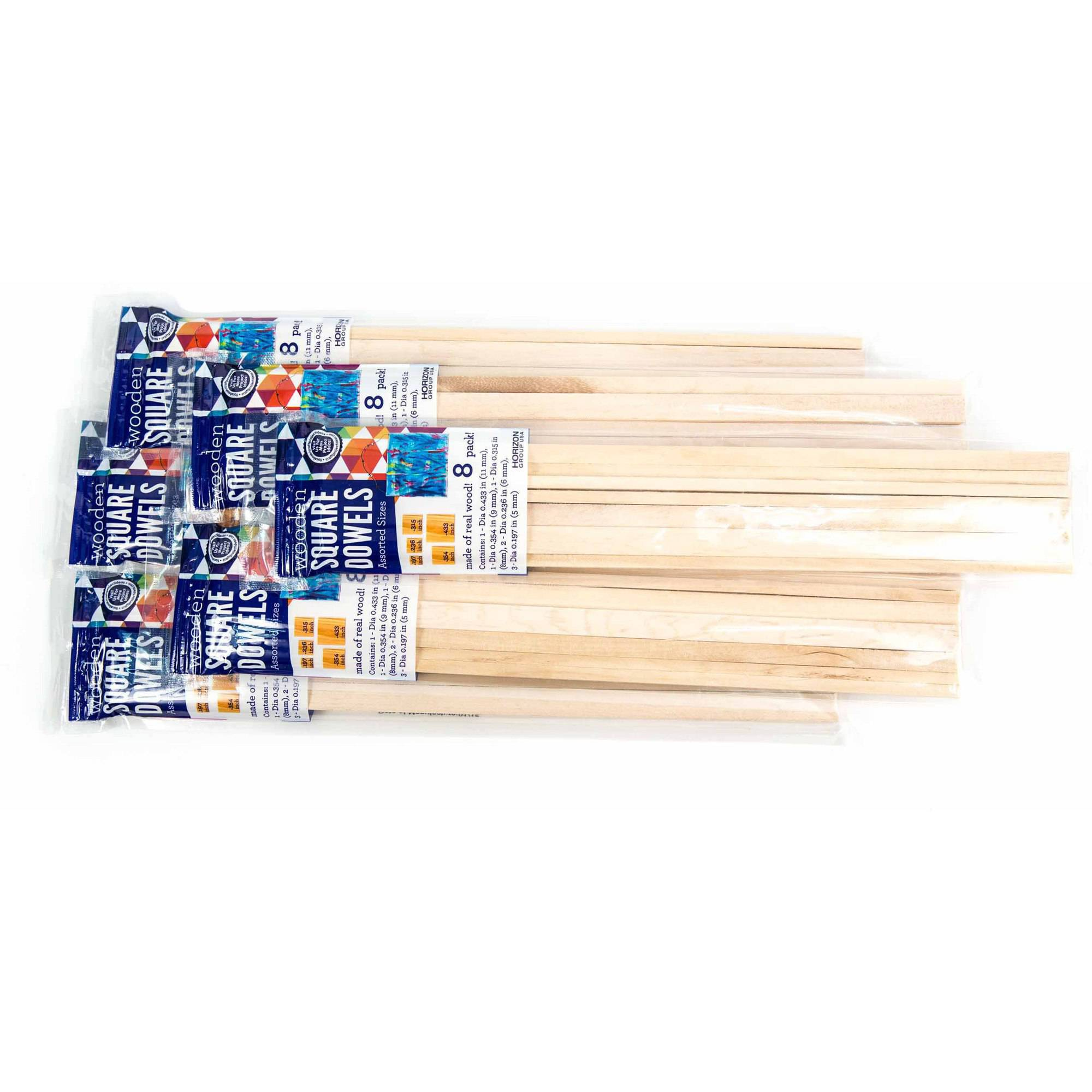 Horizon Group USA Square Wooden Dowels, 9pk