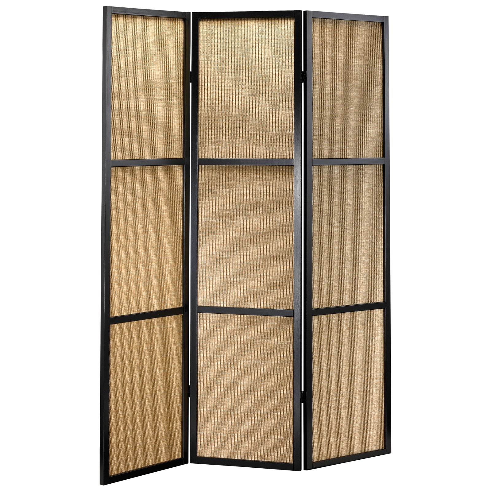 Adesso 3 Panel Woven Bamboo Room Divider with Black Frame - 52W x 70H in.