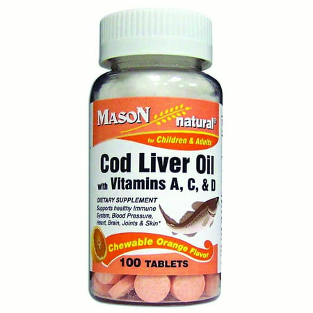Mason Vitamins Healthy Kids Cod Liver Oil with Vitamin D Chewable Tablets, Orange,