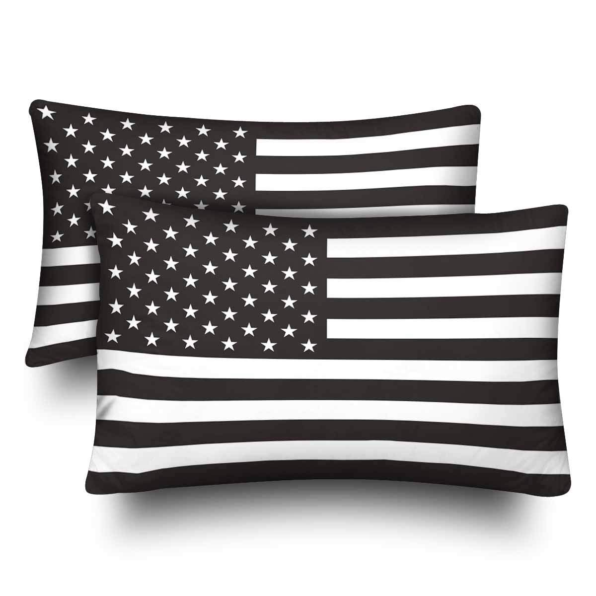 GCKG Black and White UAS American Flag Pillow Cases Pillowcase 20x30 inches  Set of 2
