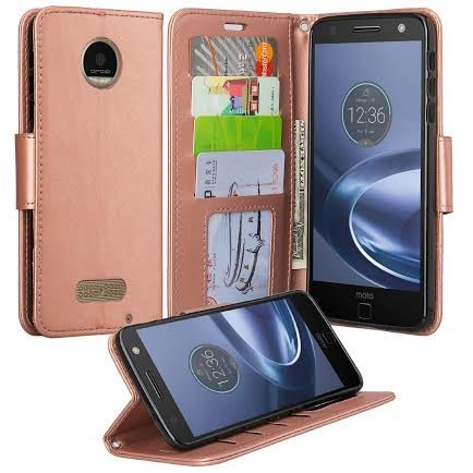 sale retailer cddac d95f4 Moto Z Force Droid Case, Motorola Z Force Droid Wallet Case, Wrist Strap Pu  Leather Wallet Case [Kickstand] with ID & Credit Card Slots - Rose Gold