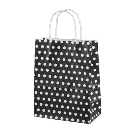 Black & White Polka Dot Paper Kraft Medium Gift Bags - Black Paper Bag