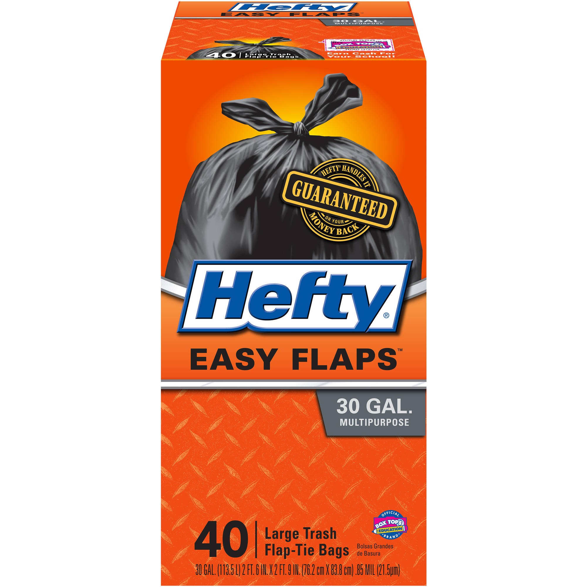 Hefty EasyFLAPS Trash Bags, 30 Gallons, Black, 40 Ct