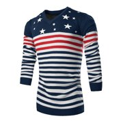 Azzuro Men's V Neck Long Sleeve Stripes Stars Print Pullover Knit Shirt (Size M / 38)