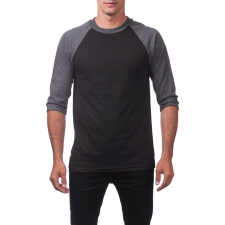 - Pro Club Men's 3/4 Sleeve Crew Neck Baseball Shirt, Small, Black/Charcoal