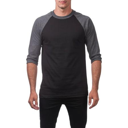 - Pro Club Men's 3/4 Sleeve Crew Neck Baseball Shirt, Small, Black/Charcoal