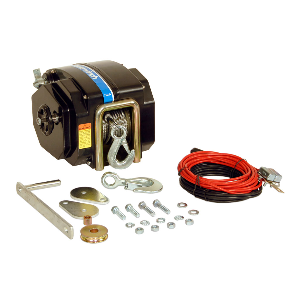 "Click here to buy Powerwinch 12V Model 712 Marine Trailer Winch with 7 32"" x 40' Cable, Max Load 7500 lbs, Vertical Lift 2400 lbs by Powerwinch."