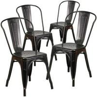 Flash Furniture 4pk Black-Antique Gold Metal Indoor-Outdoor Stackable Chair