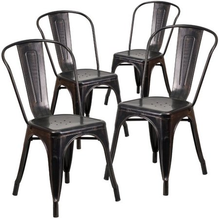 Astonishing Flash Furniture 4Pk Black Antique Gold Metal Indoor Outdoor Stackable Chair Gmtry Best Dining Table And Chair Ideas Images Gmtryco