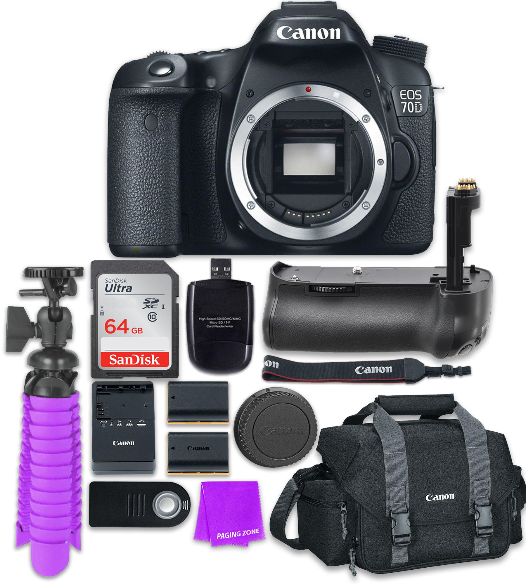 Canon EOS 70D SLR CMOS 20.2MP Wi-Fi Enabled Digital SLR Camera with (Body) + Accessory Bundle