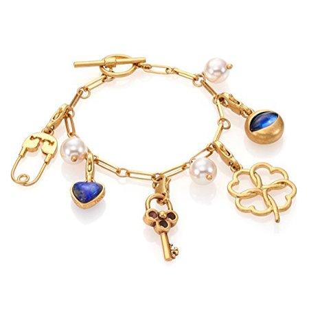Tory Burch Charm Bracelet 7 5 16k Br Clover Lapis Heart Evil Eye