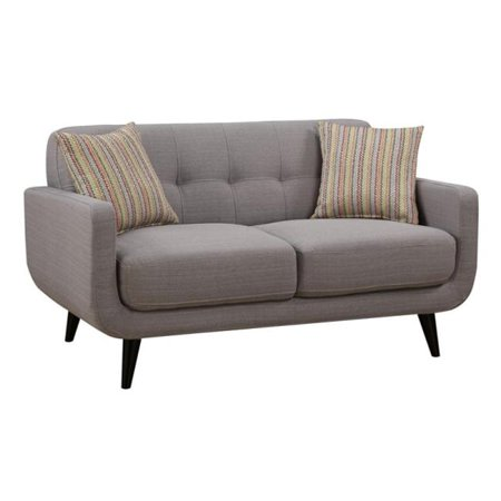 AC Pacific CRYSTAL-GRAY-L Crystal Gray Mid-Century Love Seat - 34 x 61 x 35 in.