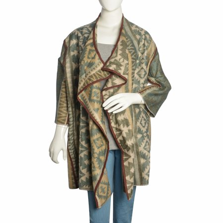 Brown and Blue 100% Acrylic Open Waterfall Cardigan Sweater X/XL