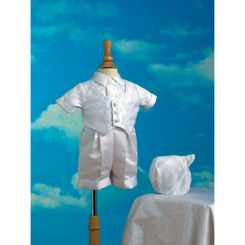 Tommy Satin Boxer Shorts and Embroidered Vest with Hat Christening Outfit