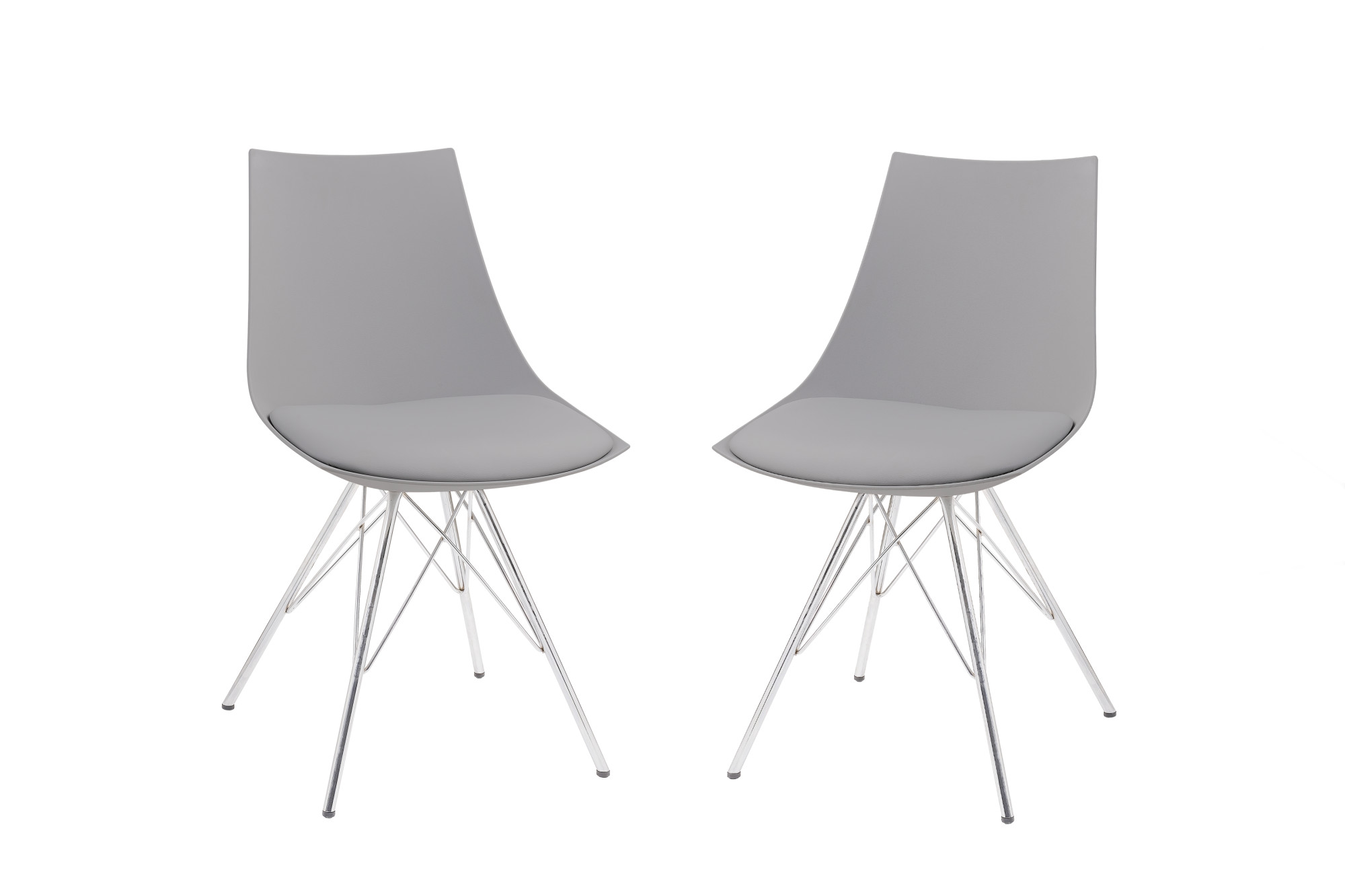 Emerald Home Audrey Gray And Chrome Dining Chair With Molded Plastic Shell,  Cushioned Seat,