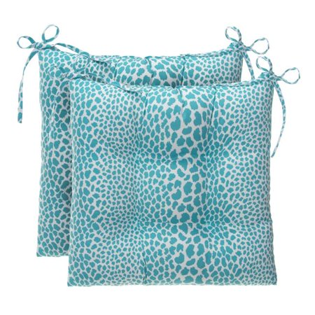 Ella Finley 70192 Catwalk Indoor & Outdoor Reversible Tufted Square Chair Cushion, Aqua - Pack of 2