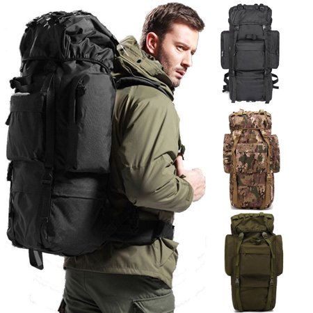 Zimtown 65L Waterproof Tactical Backpack, Military Luggage Rucksack Canva Bag, for Camping Hiking Climbing Trekking Traveling Outdoor Sports (Backpack Luggage Trolley Bag)