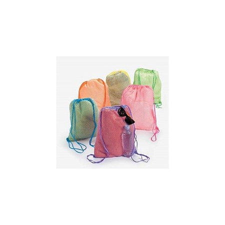 Fun Express - Neon Net Backpacks - Apparel Accessories - Totes - Plain Backpacks - 12 Pieces