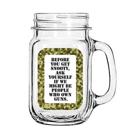 Vintage Glass Mason Jar Cup Mug Lemonade Tea Decor Painted Funny-Before you get Snooty, Ask yourself if we might be people who own (Vintage Lemonade)