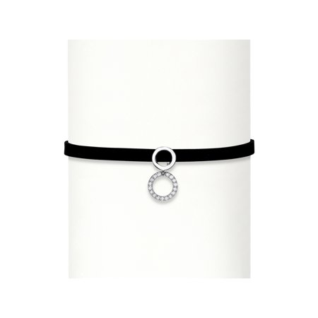 .26 TCW Round Cubic Zirconia Double Circle Sterling Silver Black Suede Choker Necklace - Princess Choker