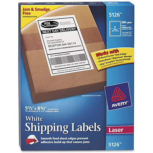"Avery 5126 White Shipping Labels for Laser Printers, 5-1/2"" x 8-1/2"", 200Labels/Pack"