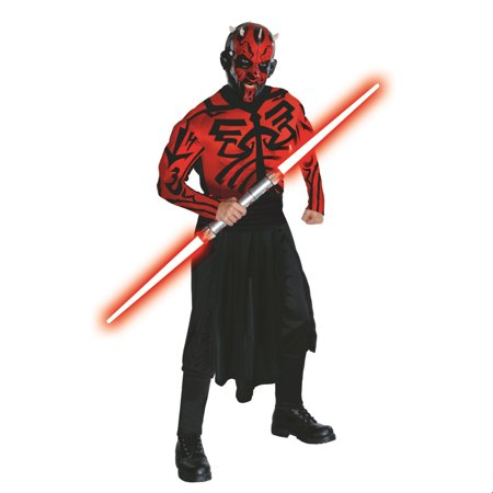 Star Wars Mens Deluxe Darth Maul Muscle Chest Shirt Halloween Costume - Easy Halloween Costumes For Men Quick
