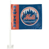 """New York Mets 12"""" x 15"""" Double-Sided Car Flag"""