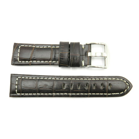 22mm Brown Genuine Leather Alligator Grain White Stitching Watch (Dark Brown Genuine Alligator Watch)