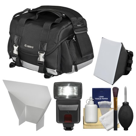 Canon 200DG Digital SLR Camera Case - Gadget Bag with Flash + Soft Box + Reflector Kit for EOS 6D, 70D, 7D, 5DS, 5D Mark II III, Rebel T3, T3i, T5, T5i, T6i, T6s, SL1