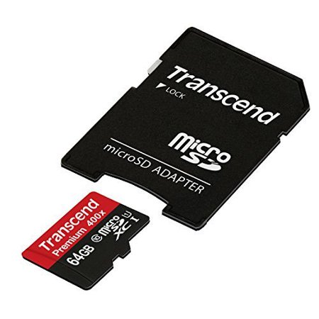 Transcend 64GB MicroSDXC Class10 UHS-1 Memory Card w/ Adapter 60 MB/s