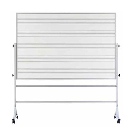 Marsh  White Porcelain  48-inch x 72-inch Reversible Markerboard With Music Staff Lines and Aluminum Trim