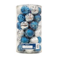 Holiday Time Shatterproof Ornaments, Blue & Silver, 41 Count