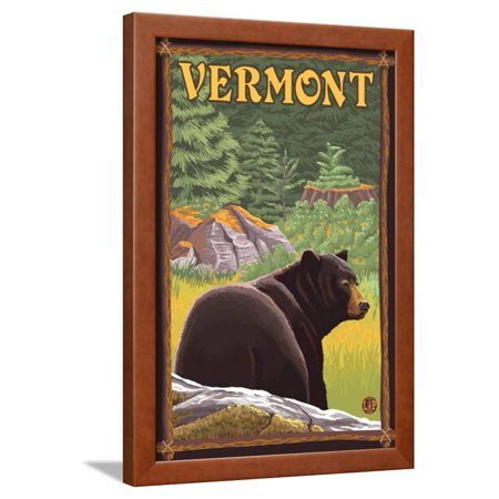 Vermont - Black Bear in Forest Framed Print Wall Art By Lantern ...