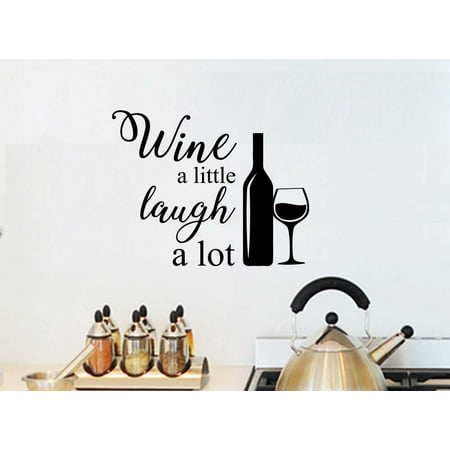 Wine a little laugh a lot love wall mural sticker art kitchen decor saying lettering stencil wall accents Decor African Animal Accent Murals