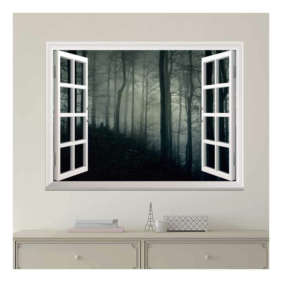 wall26 Modern White Window Looking Out Into a Dark Foggy Forest - Wall Mural, Removable Sticker, Home Decor - 36x48 inches