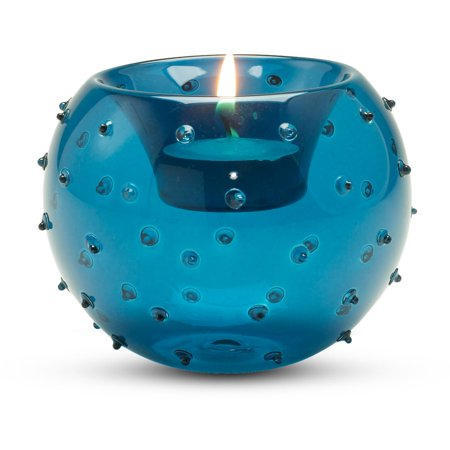 Perfectly Paisley - Blue Polka Dot Round Glass Tealight Candle Holder Beach Decor 3.5