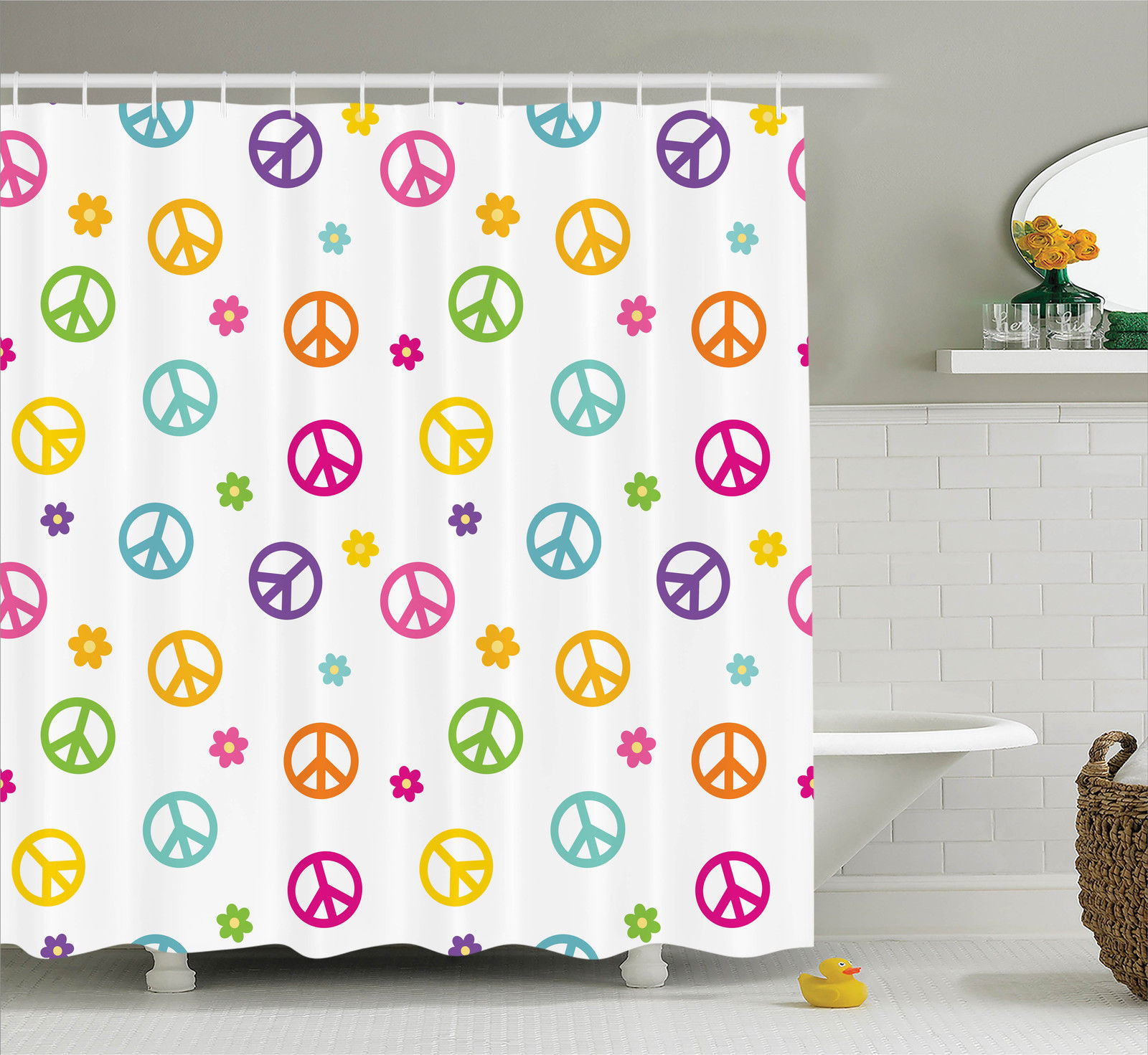 8x12 FT Groovy Vinyl Photography Backdrop,Peace Flower Symbol Colorful Illustration About Equality Peaceful World Dreamlike Background for Baby Shower Bridal Wedding Studio Photography Pictures
