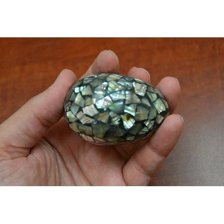 Paua Abalone Shell Inlay Bead Egg Decor 2 1/4