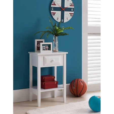 White Wood Kids Accent Storage Side Table Night Stand With Drawer (Kids Accent Table)