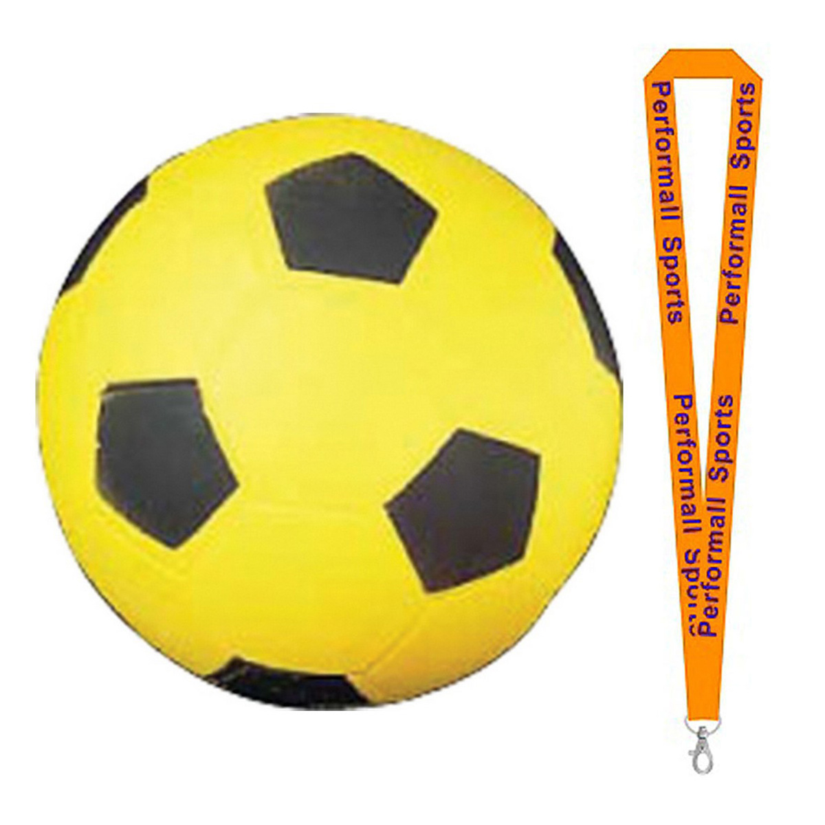 Champion Sports Bundle: Coated High Density Foam Soccer Ball Black / Yellow with 1 Performall Lanyard SFC-1P