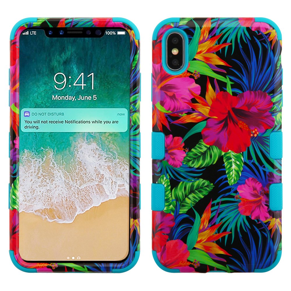 TUFF Hybrid Heavy Duty Shockproof Phone Protector Cover Case and Atom Cloth for Apple iPhone Xs Max - Pink Tropical Flowers