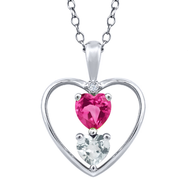 0.69 Ct Heart Shape Pink Mystic Topaz Sky Blue Aquamarine 18K White Gold Pendant by