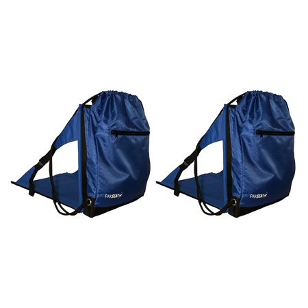 Ostrich PakSeat Padded Folding Stadium Seat Backpack String Bag, Blue (2 Pack)