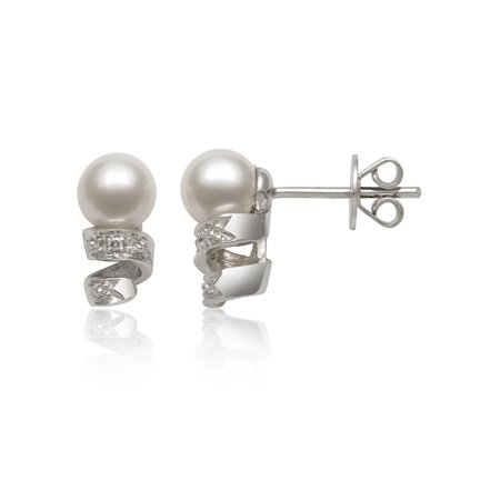 Pearl Diamond Accent (5-6mm Cultured Freshwater Pearl Diamond Accent Sterling Silver Swirl Stud Earrings )