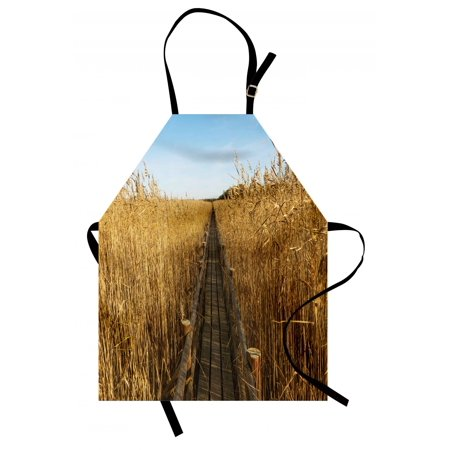 Nature Apron Old Narrow Floating Walkway in the Lake Surrounded by Reeds Greenland Nature Theme, Unisex Kitchen Bib Apron with Adjustable Neck for Cooking Baking Gardening, Yellow Brown, by Ambesonne