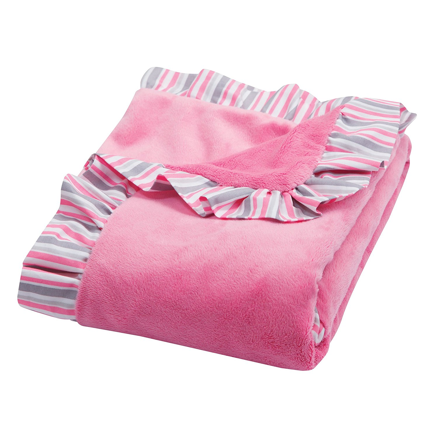 Receiving Blanket in Pink Velour with Maya Edge Stripe, 100 percent polyester/100 percent cotton By Trend Lab