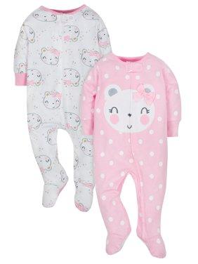 Gerber Organic Cotton Jersey Sleep 'N Play, 2pk (Baby Girls)